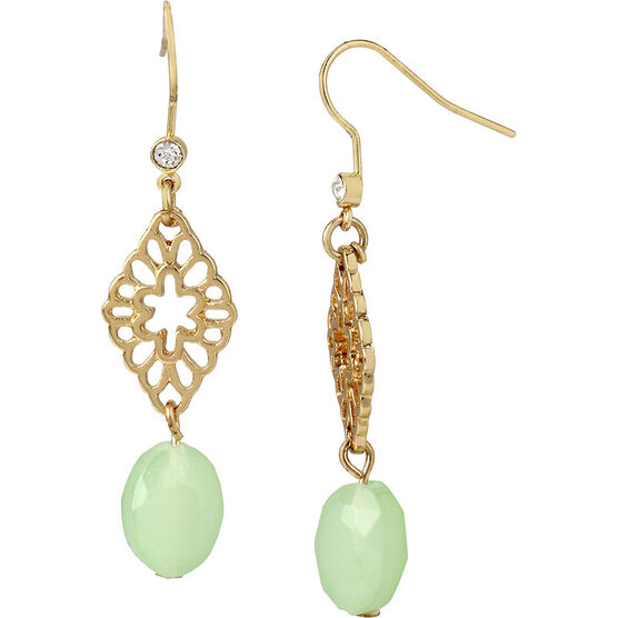 Haskell Filigree Crystal Drop Earrings - Mint/Gold
