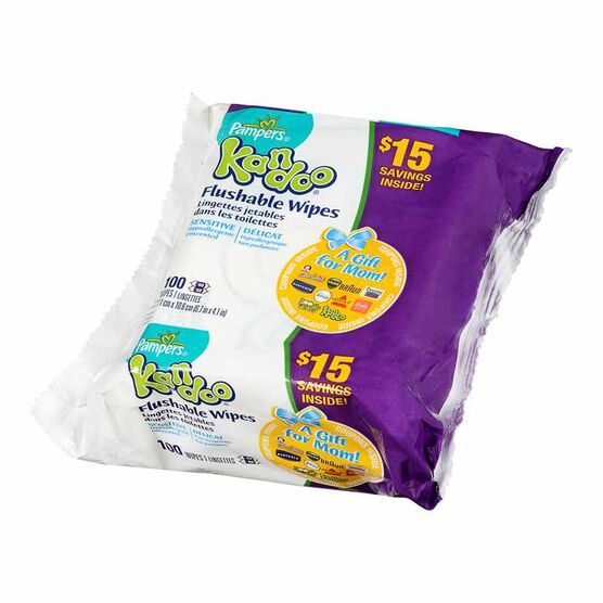 Kandoo Flushable Toilet Wipes - Sensitive - 100's/Refill