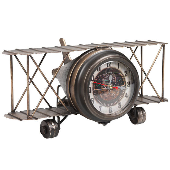 London Drugs Metal Biplane Desk Clock - Antique Finish