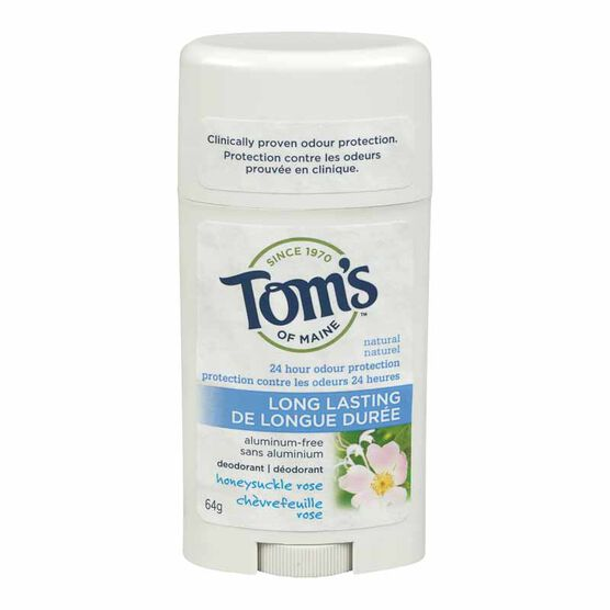 Tom's of Maine Deodorant Stick Long Lasting - Honeysuckle Rose - 64g