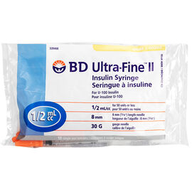 BD Ultra Fine TM II Insulin Syringes - 30 G x 8mm .5 cc - 10 single use syringes