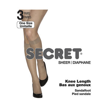 Secret Knee Length High Sheer Toe - Black