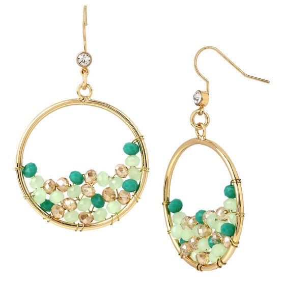 Haskell Beaded Hoop Earrings - Mint/Gold