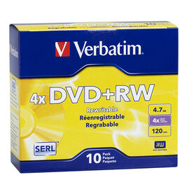 Verbatim 4.7GB DVD+RW 4X Storage Media - 10 pack