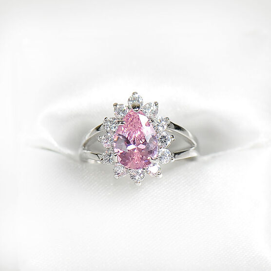 Marca Pink and Clear Cubic Zirconia Ring - Size 7