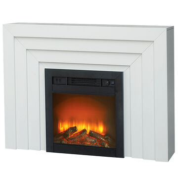 Windsor Electric Fire Place with Wooden Mantel - White - A5701/A5700