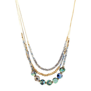 Haskell Three Row Beaded Necklace - Green/Gold