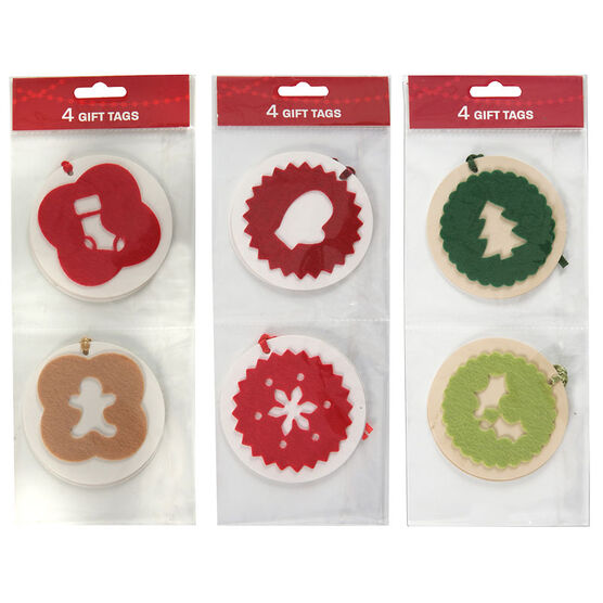 Christmas Felt Gift Tags - 4 pieces - Assorted