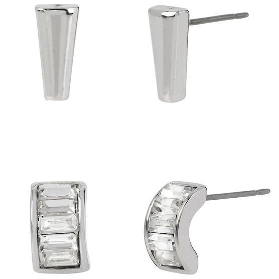 Kenneth Cole Rhodium Plated Stud Earring Duo - Crystal