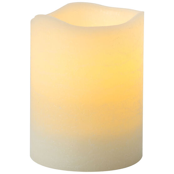 Rustic Flameless Pillar Candle - Vanilla - Cream - 3 x 4inch