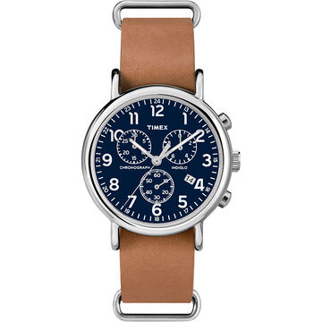 Timex Weekender Chronography - Silver/Tan/Blue - TW2P62300AW
