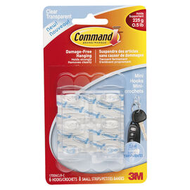 Command™ Mini Hooks - Clear - 6's