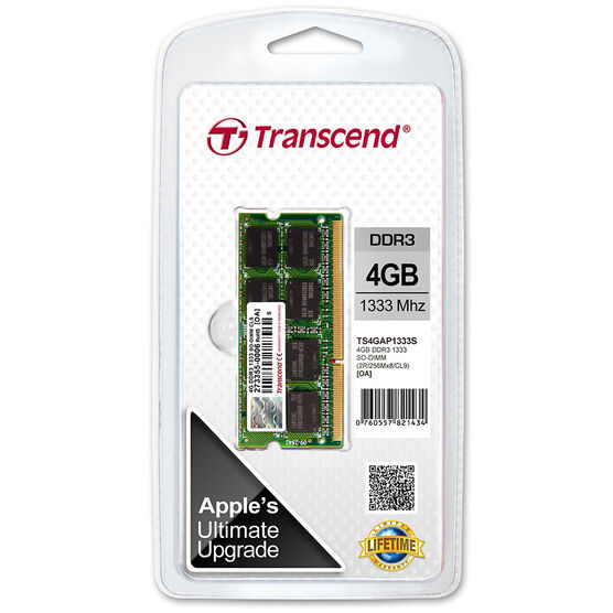 Transcend 4GB Apple JetMemory DDR3 1333Mhz SO-DIMM - TS4GAP1333S