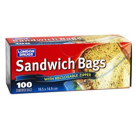 London Drugs Sandwich Bags - 16.5 x 14.9cm - 100's