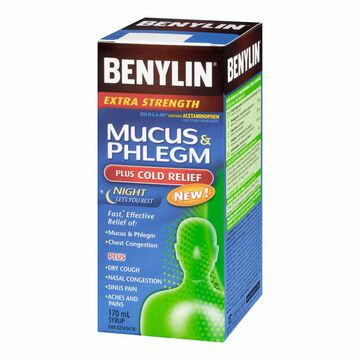 Benylin Extra Strength Nighttime Mucus & Phlegm + Cold - 170ml