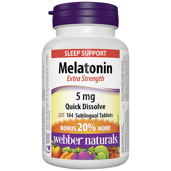 Webber Naturals Melatonin Extra Strength 5mg Sublingual Tablets - 120's