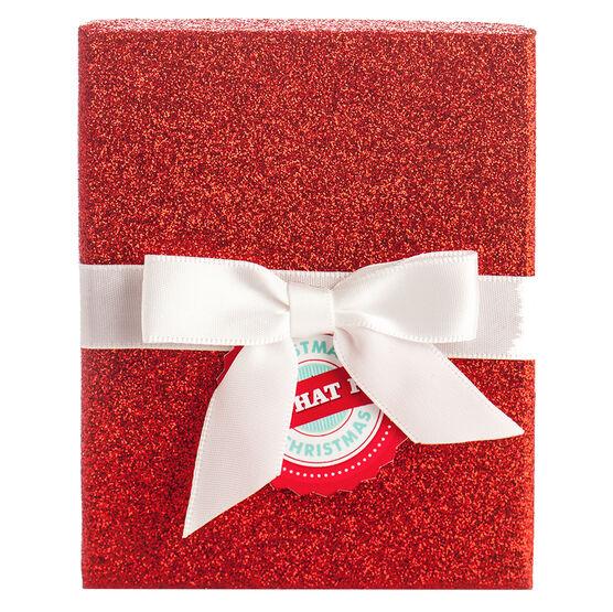 Red Glitter White Bow Box - Square