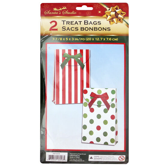 Christmas Treat Bags with Bow - 2 pack