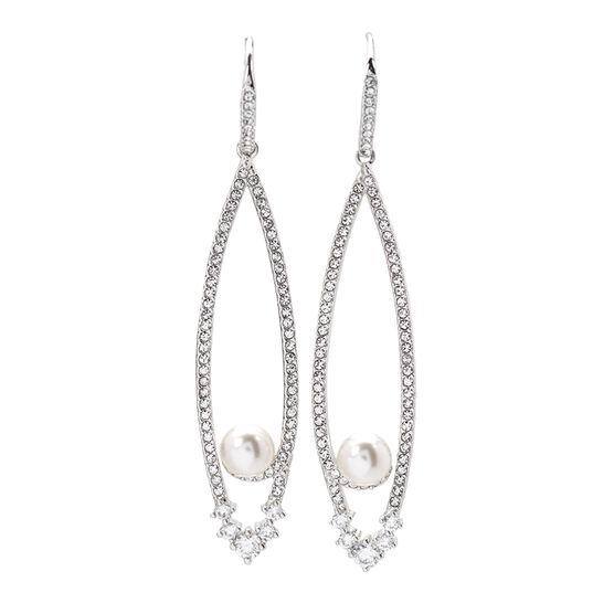 Eliot Danori Nova Pearl Drop Earrings - Rhodium