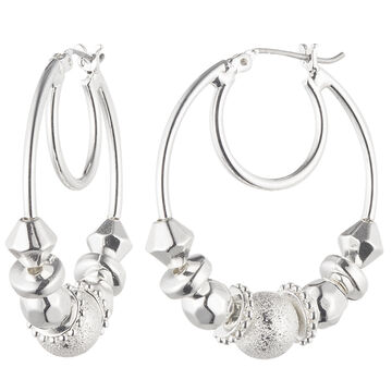 Nine West Clickit Hoop Earrings - Silver Tone
