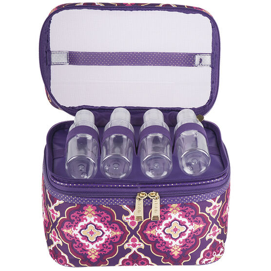 Modella Purple Moroccan Fitted Double Zip Train Case