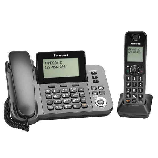 Panasonic DECT 6.0 1-Handset with Corded Answering System - Black - KXTGF350M