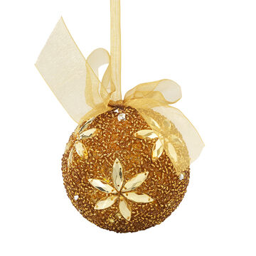 Winter Wishes Elegance Beaded Ornament - 3.15 in - Gold