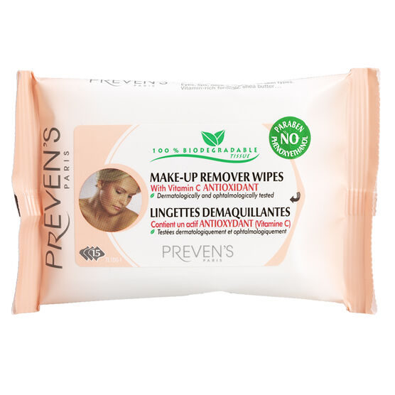 Preven's Paris Make-Up Remover Wipes - 15's