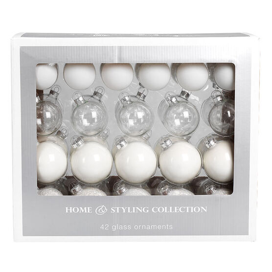 Christmas Glass Ball Ornaments - 42 pieces - White/Silver
