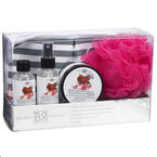 The Bath Republic Cosmetic Bag Set - Moroccan Rose & Raspberry - 5 piece