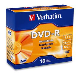 Verbatim DVD-R 4.7GB 16X Slim Case - 10 pack