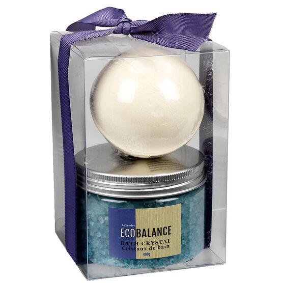 ECOBALANCE Fizz Bomb &Bath Crystal Set - Lavender - 2 piece