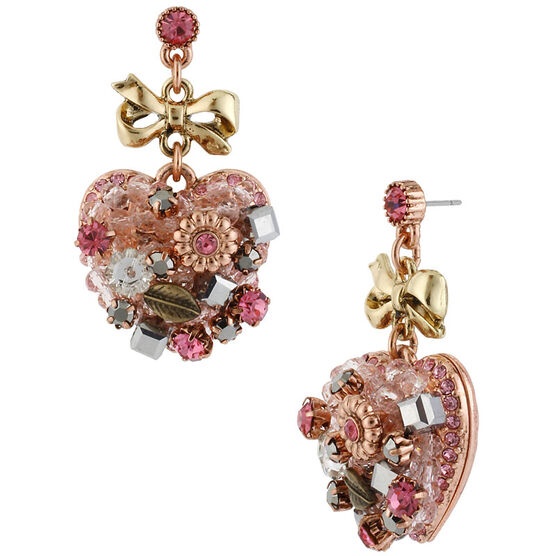 Betsey Johnson Heart Drop Earrings - Pink