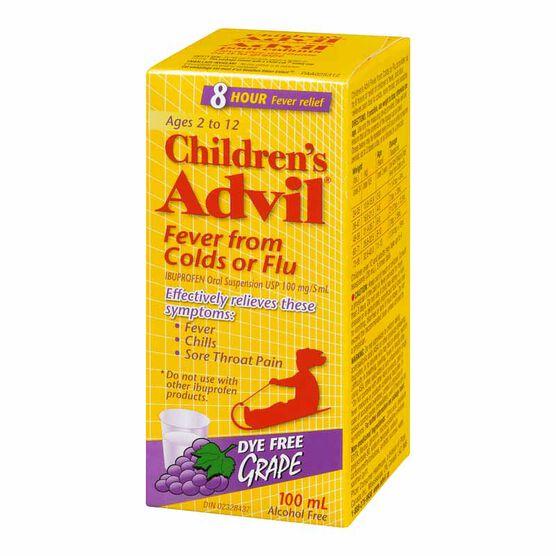 Advil Children's Fever from Colds or Flu Suspension - Dye-Free Grape - 100ml