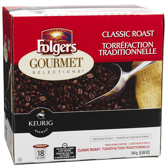 Keurig K-Cup Folgers Gourmet Selections Pods - Classic Roast - 18's