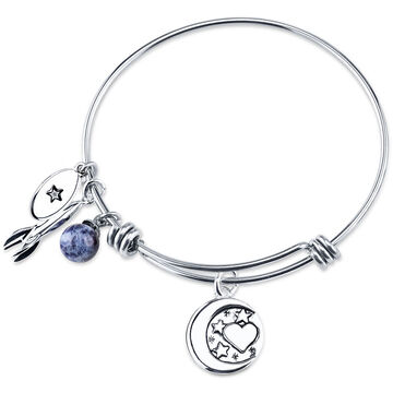 UNWRITTEN Stainless Steel Love You to the Moon and Back Expandable Bangle
