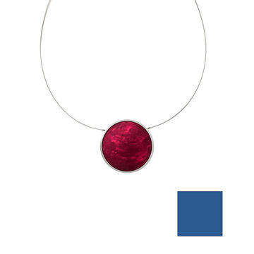 Merx Reversible Circle Resin Shell Wire Necklace - Pink/Blue