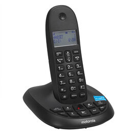Motorola Cordless Phone with Answering Machine - Black - C1011LX