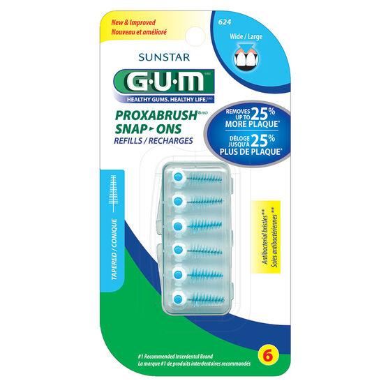 G.U.M. Proxabrush Snap-Ons Refills - Wide - 6's