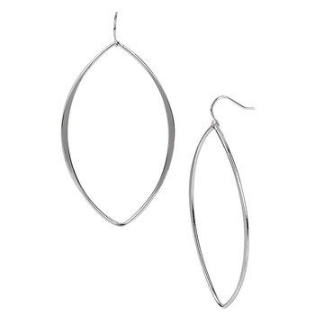 Kenneth Cole Large Oval Shiny Hoop Drop Earrings - Silver Tone