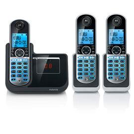 Motorola 3-Handset Cordless Phone - Black/Silver - P1003