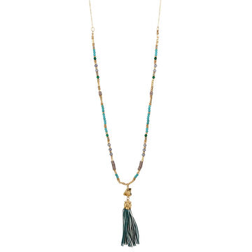 Haskell Beaded Tassel Necklace - Multi/Gold