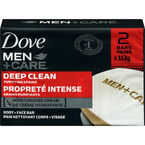 Dove Men +Care Deep Clean Purifying Grains Body & Face Bar - 2 x 113g