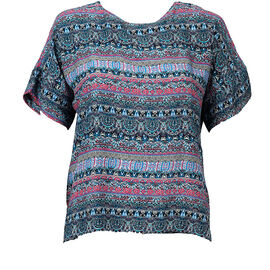Lava Short Sleeve Printed Blouse - Navy - Assorted