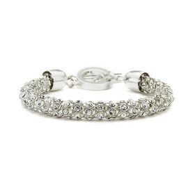 Anne Klein Pave Tube Bracelet - Silver