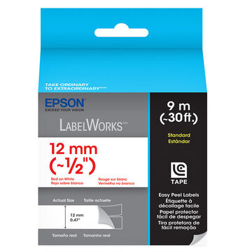 """Epson Red on White Easy Peel Label 1/2"""" - 12mm x 9m"""