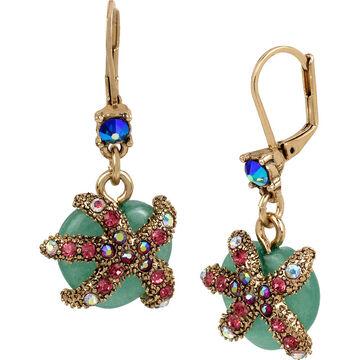 Betsey Johnson Starfish Drop Earrings - Multi/Gold