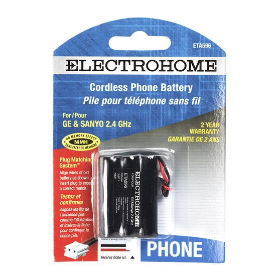 Electrohome ETA596 phone battery - NiMH