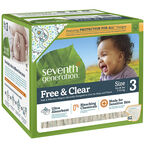 Seventh Generation Baby Free and Clear Diapers - Size 3 - 62's