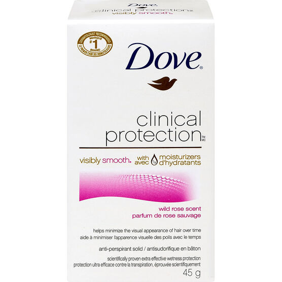 Dove Clinical Protection Visibly Smooth Anti-Perspirant Solid - Wild Rose - 45g